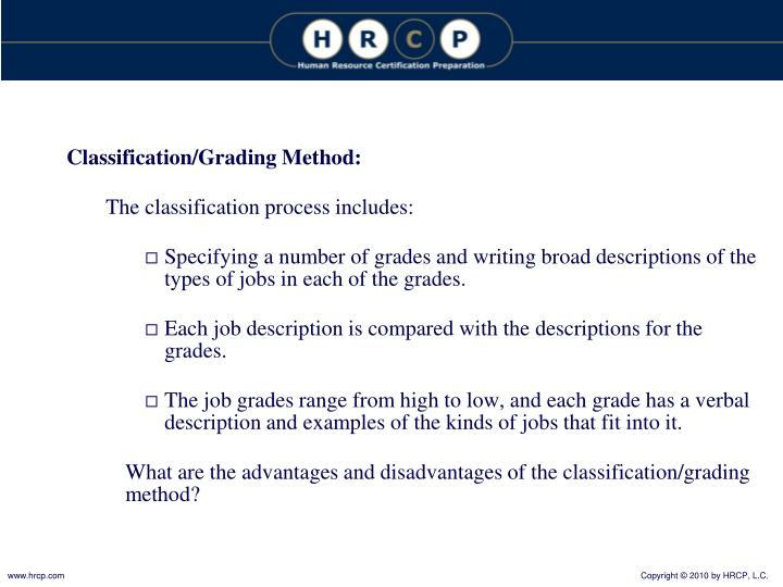 Classification/Grading Method: