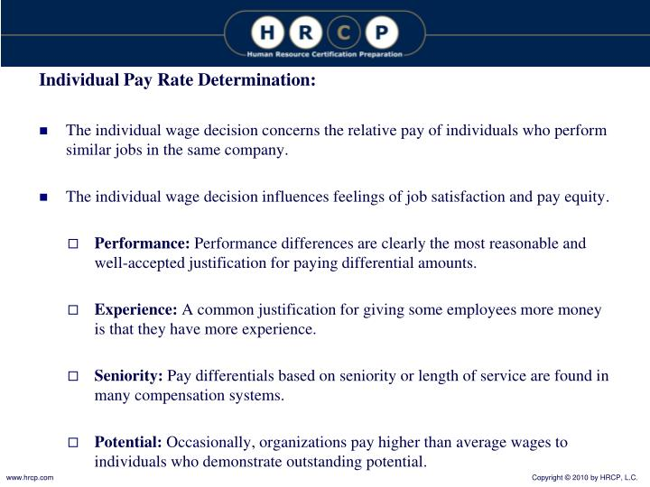 Individual Pay Rate Determination: