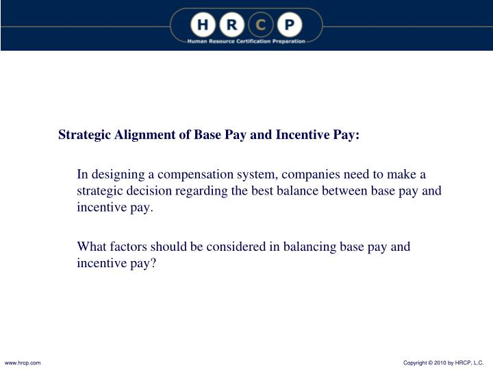 Strategic Alignment of Base Pay and Incentive Pay: