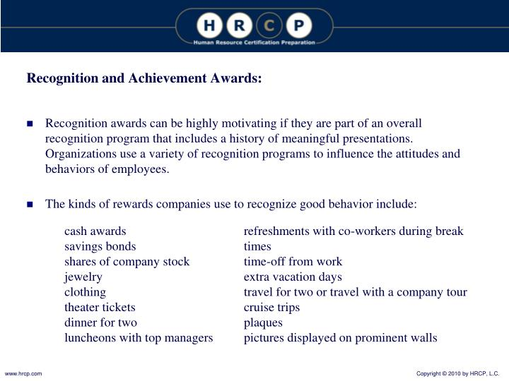 Recognition and Achievement Awards: