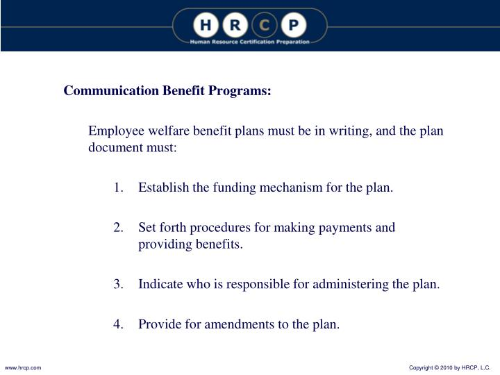 Communication Benefit Programs: