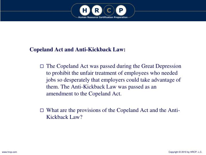 Copeland Act and Anti-Kickback Law: