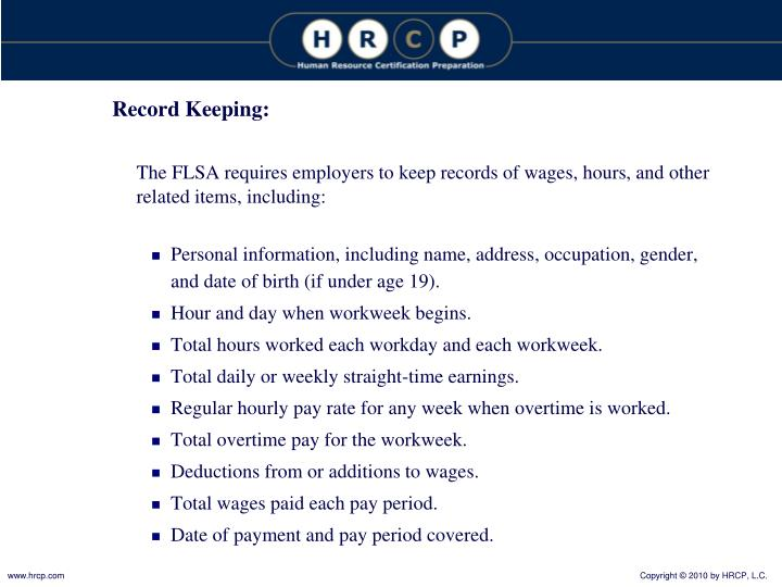 Record Keeping: