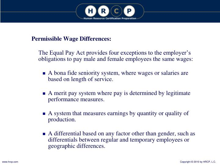 Permissible Wage Differences: