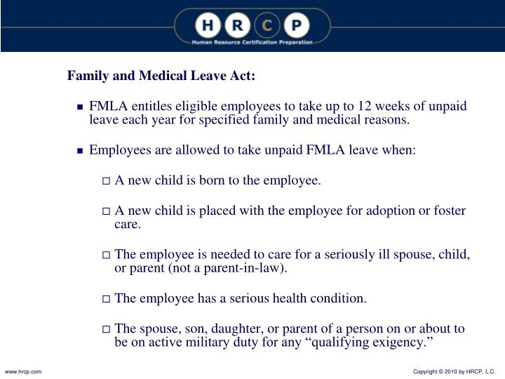 Family and Medical Leave Act: