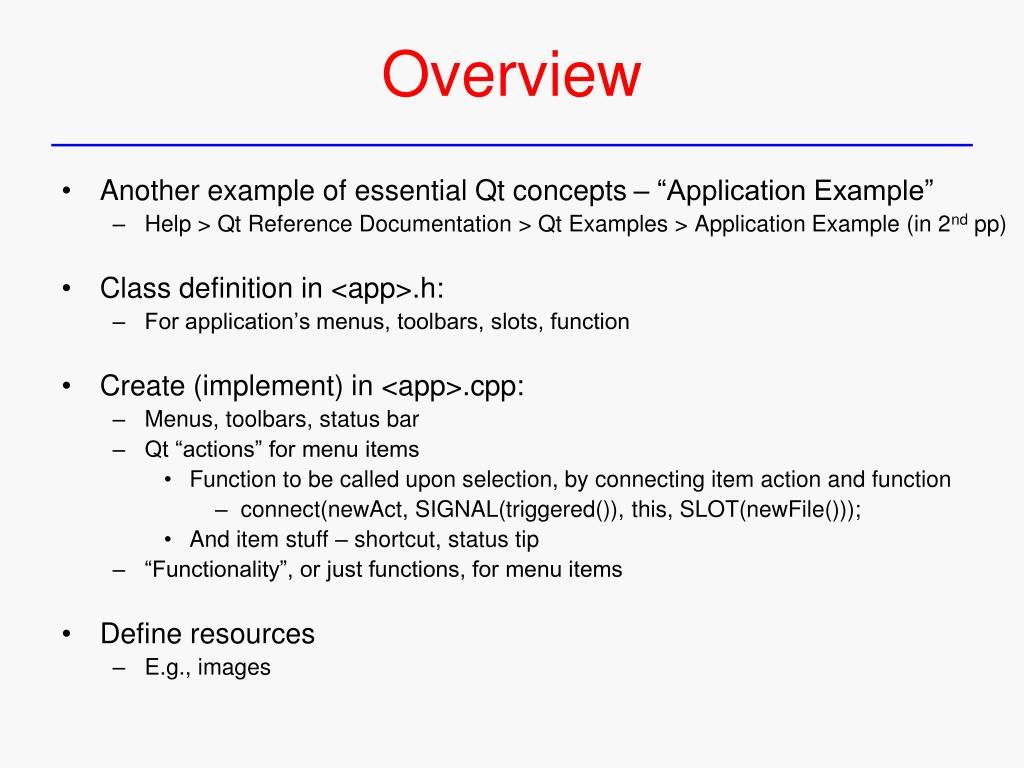 PPT - Qt – Functionality, Custom Widgets PowerPoint Presentation