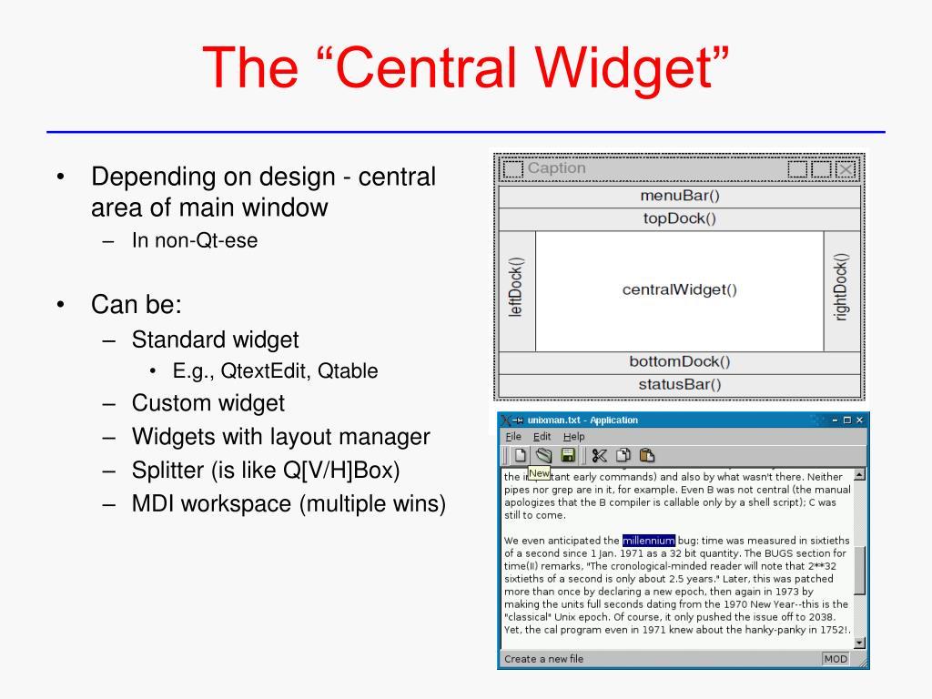 PPT - Qt – Functionality, Custom Widgets PowerPoint
