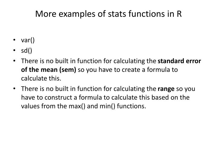 More examples of stats functions in R