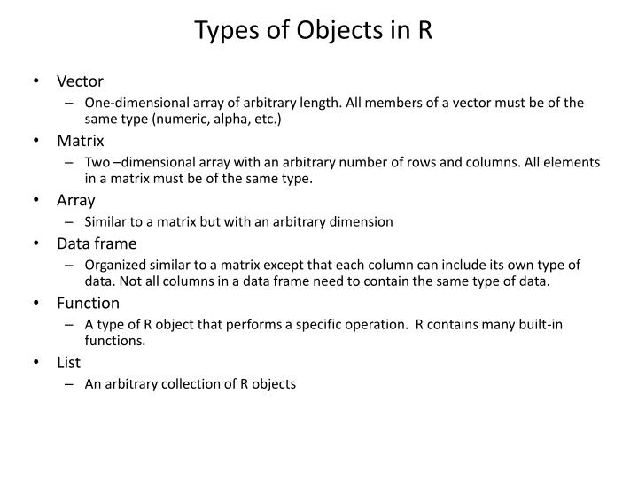 Types of Objects in R