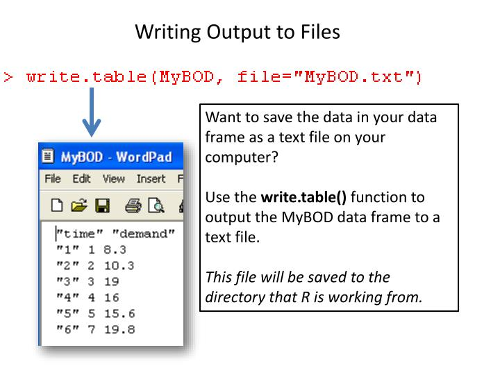 Writing Output to Files