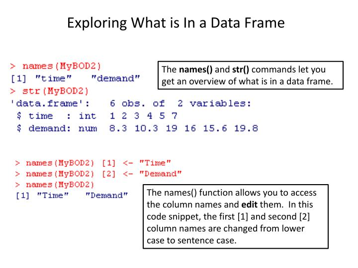Exploring What is In a Data Frame