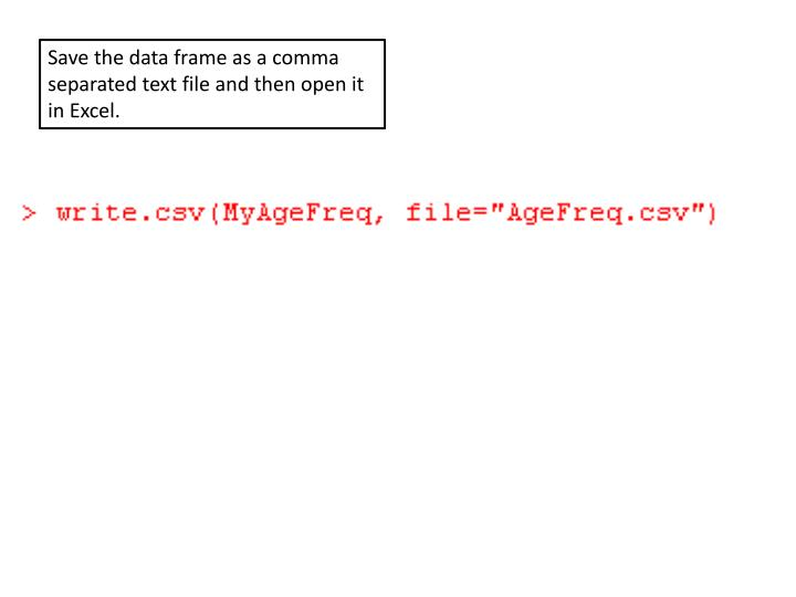 Save the data frame as a comma separated text file and then open it in Excel.