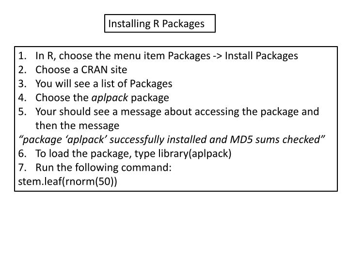 Installing R Packages