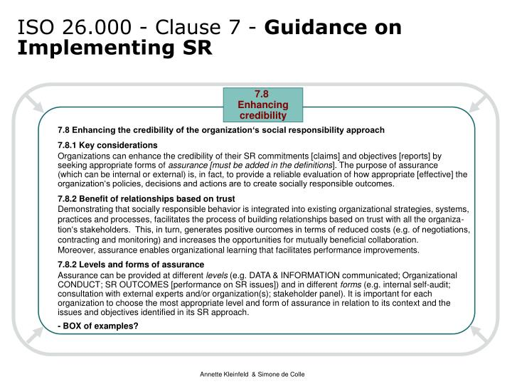 ISO 26.000 - Clause 7 -