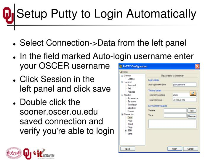 Setup Putty to Login Automatically