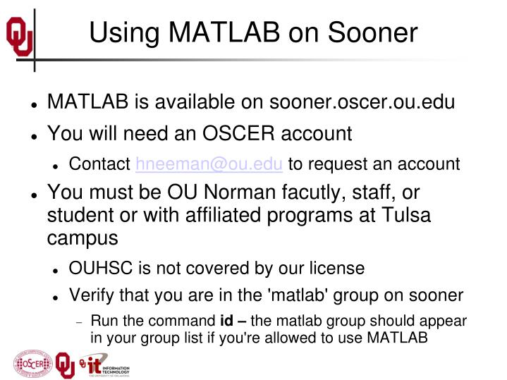 Using matlab on sooner