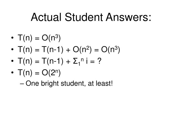 Actual Student Answers: