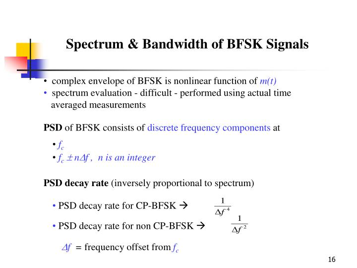 complex envelope of BFSK is nonlinear function of