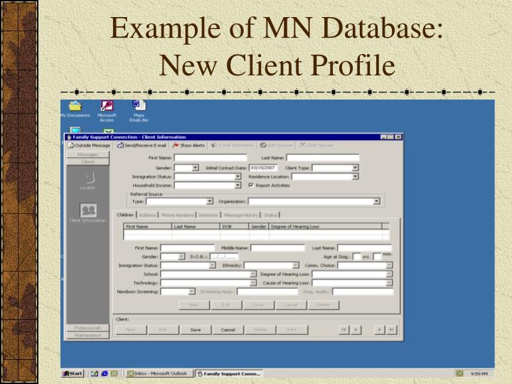 Example of MN Database: