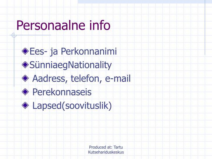 Personaalne info