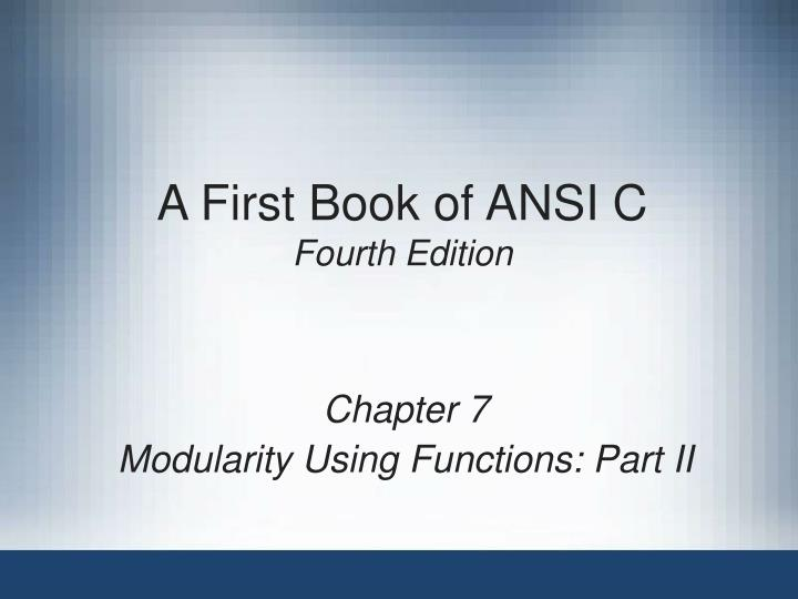 a first book of ansi c fourth edition n.