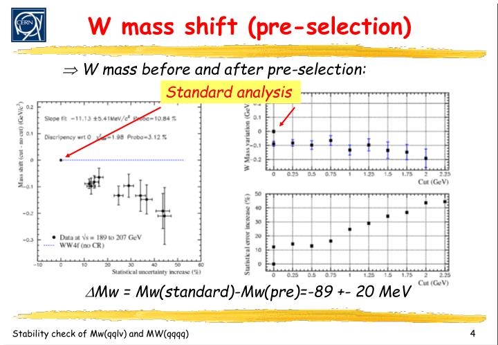 W mass shift (pre-selection)