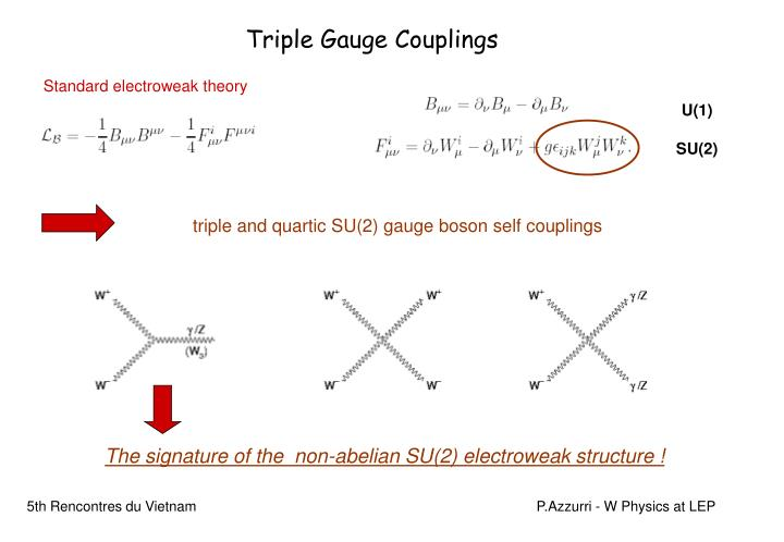 triple and quartic SU(2) gauge boson self couplings