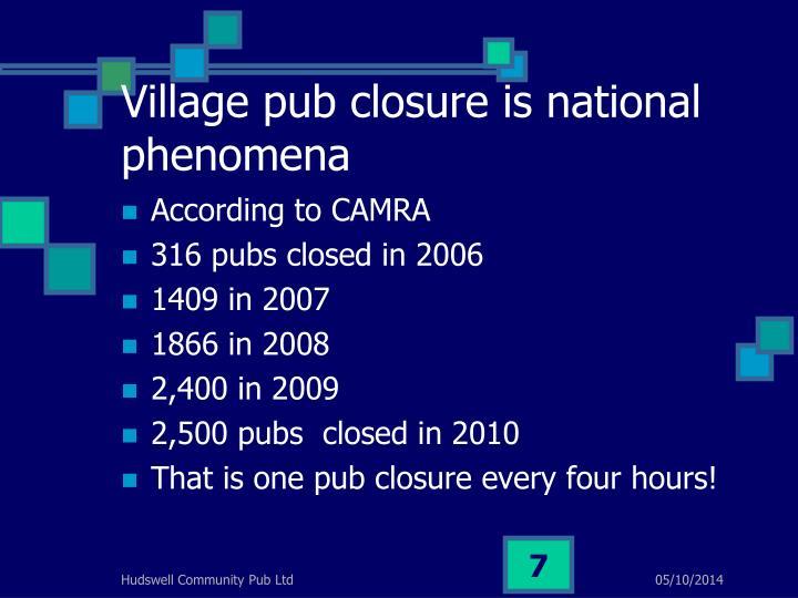 Village pub closure is national phenomena