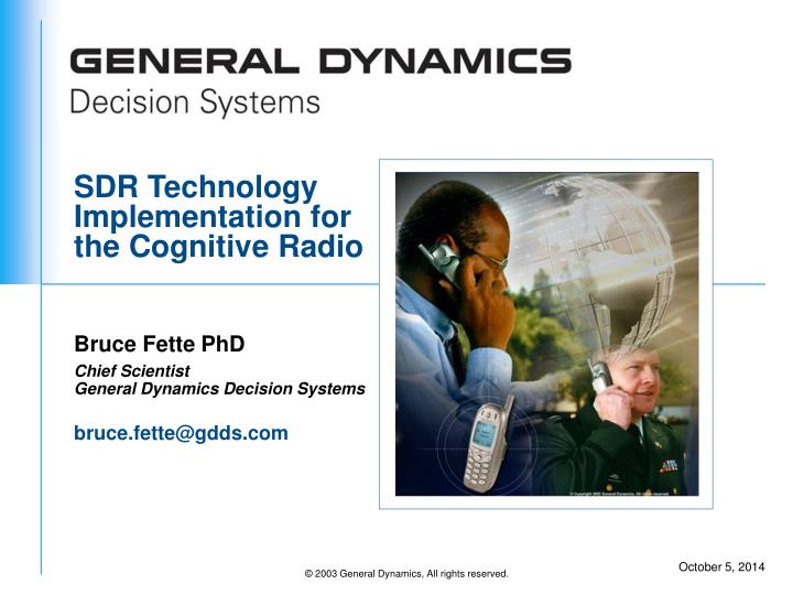 sdr technology implementation for the cognitive radio n.