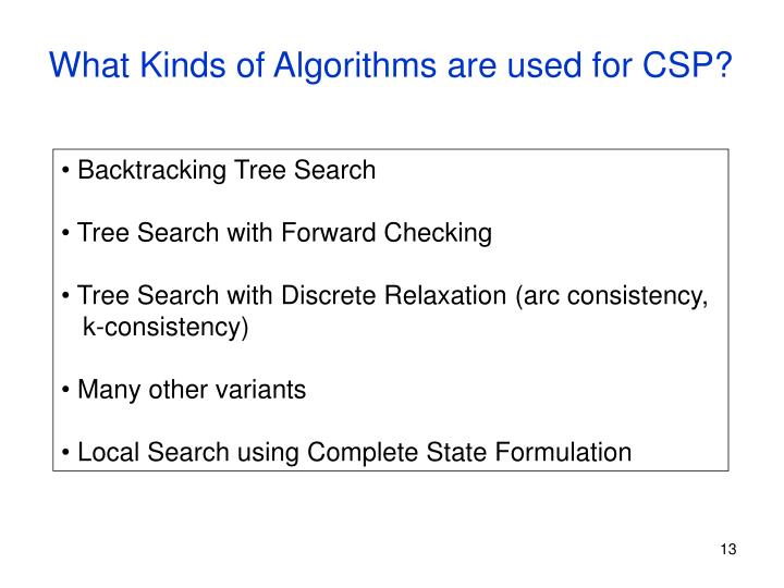 What Kinds of Algorithms are used for CSP?