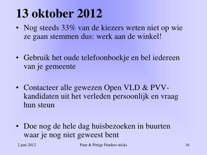 13 oktober 2012