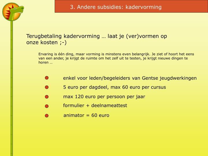 3. Andere subsidies: kadervorming