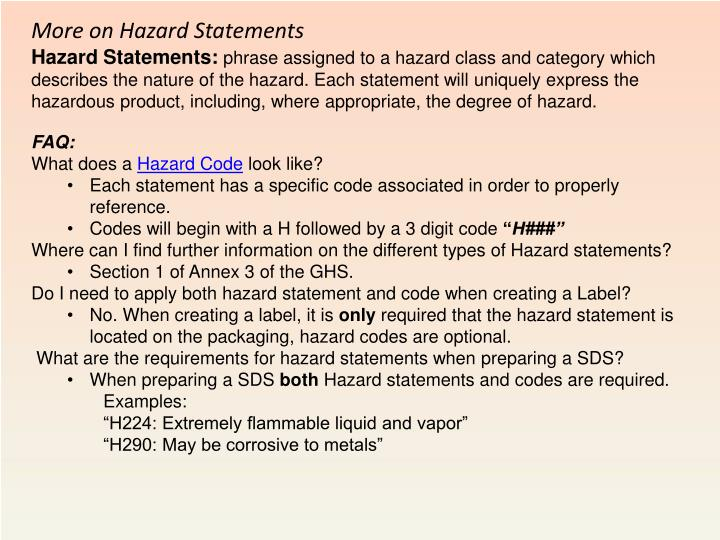 More on Hazard Statements