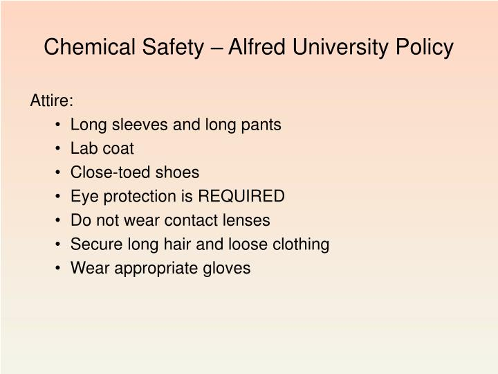 Chemical Safety – Alfred University Policy