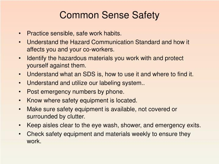 Common Sense Safety