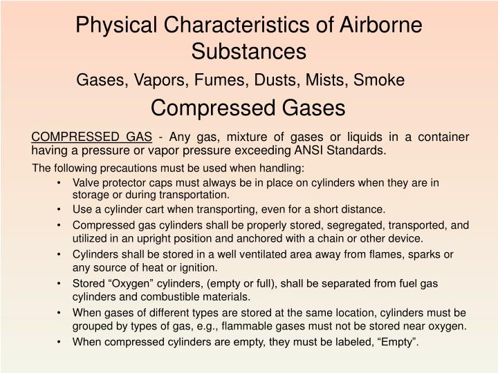Physical Characteristics of Airborne Substances
