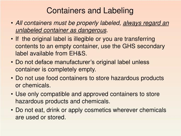 Containers and Labeling
