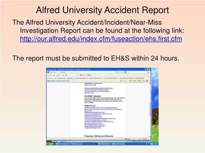 Alfred University Accident Report