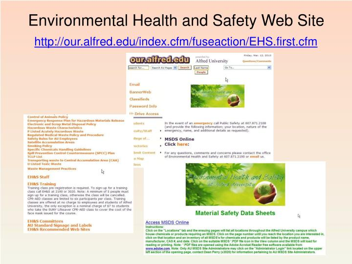 Environmental Health and Safety Web Site
