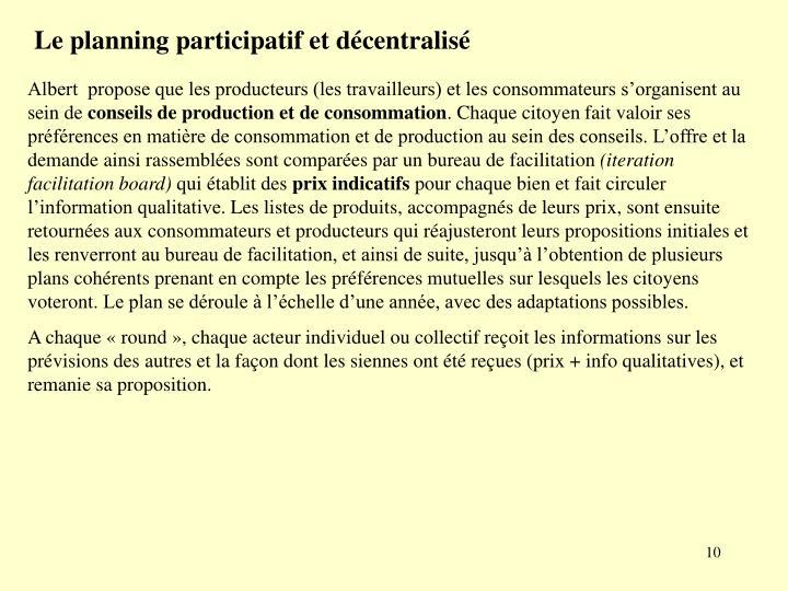 Le planning participatif et décentralisé