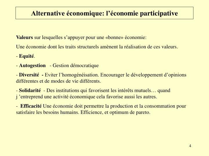 Alternative économique: l'é