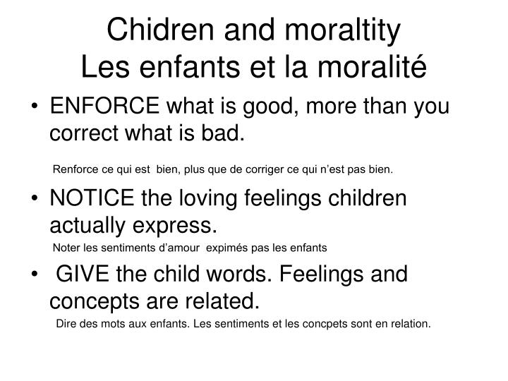 Chidren and moraltity