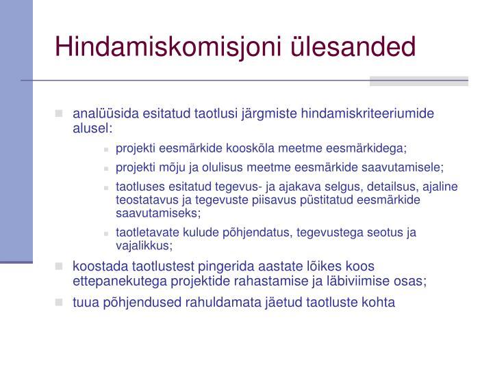Hindamiskomisjoni ülesanded