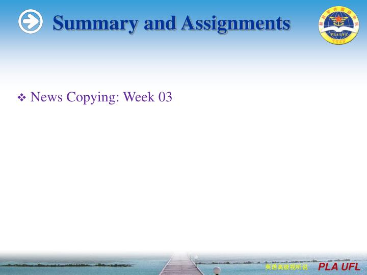 Summary and Assignments