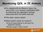 maximizing qol in ill animals