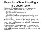 examples of benchmarking in the public sector