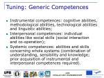 tuning generic competences