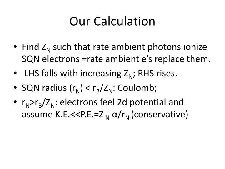 Our Calculation
