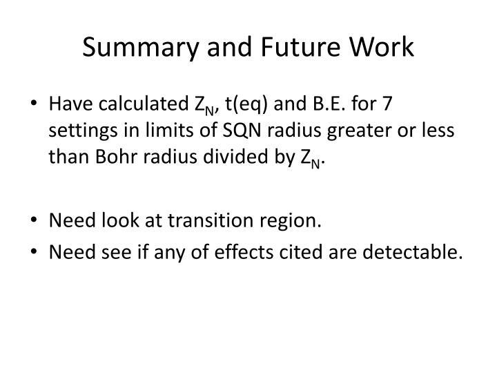 Summary and Future Work