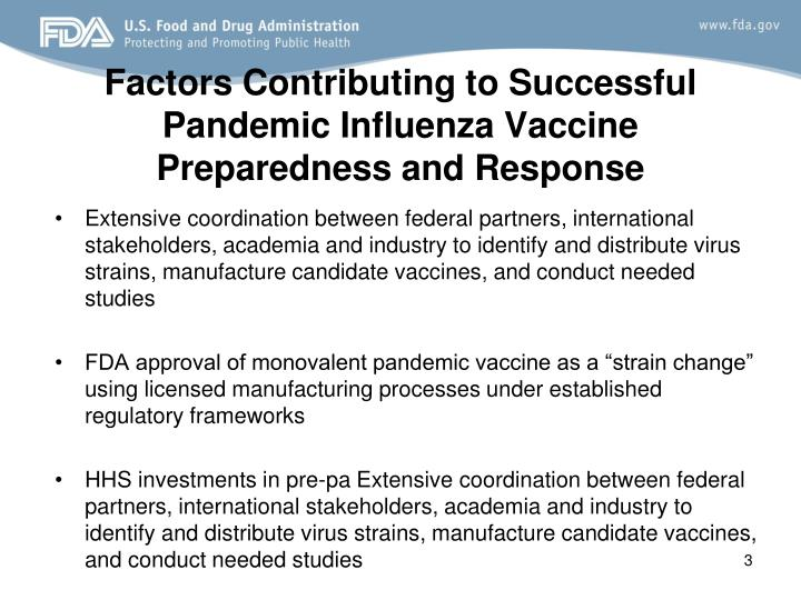 Factors Contributing to Successful Pandemic Influenza Vaccine Preparedness and Response